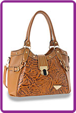 Saddle Tool Embossed Western Twist Lock Tote