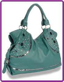 Stud and Gem Accented Large Fashion Handbag