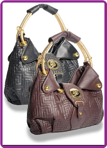 Quilted Emblem Accented Fashion Handbag