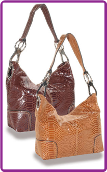 Snakeskin Textured Hobo Handbag