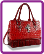 Genuine Leather Rhinestone Cross Accented Hand Tote