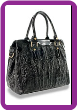 Croc Embossed Tall Pleated Fashion Tote