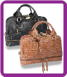 Crocodile Embossed Lock Accented Carry-All Handbag